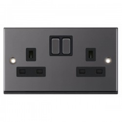 Selectric 7M-Pro Black Nickel 2 Gang 13A Switched Socket with Black Insert