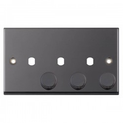 Selectric 7M-Pro Black Nickel 2 Gang Triple Aperture Dimmer Plate with Matching Knobs