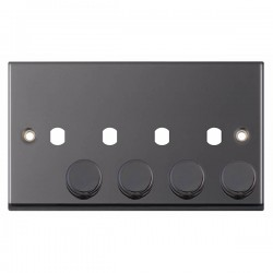 Selectric 7M-Pro Black Nickel 2 Gang Quad Aperture Dimmer Plate with Matching Knobs