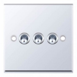Selectric 7M-Pro Polished Chrome 3 Gang 10A 2 Way Toggle Switch