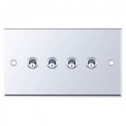 Selectric 7M-Pro Polished Chrome 4 Gang 10A 2 Way Toggle Switch