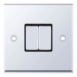 Selectric 7M-Pro Polished Chrome 2 Gang 10A 2 Way Switch with Black Insert