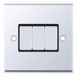 Selectric 7M-Pro Polished Chrome 3 Gang 10A 2 Way Switch with Black Insert