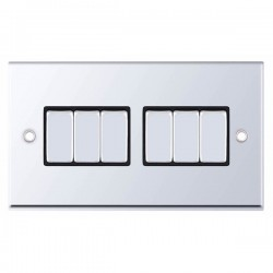 Selectric 7M-Pro Polished Chrome 6 Gang 10A 2 Way Switch with Black Insert