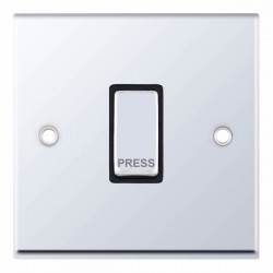 Selectric 7M-Pro Polished Chrome 1 Gang 10A Push to Make Switch with Black Insert