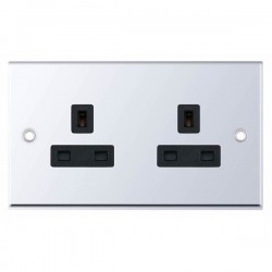 Selectric 7M-Pro Polished Chrome 2 Gang 13A Unswitched Socket with Black Insert