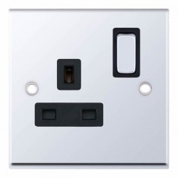 Selectric 7M-Pro Polished Chrome 1 Gang 13A DP Switched Socket with Black Insert