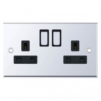 Selectric 7M-Pro Polished Chrome 2 Gang 13A DP Switched Socket with Black Insert