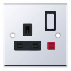 Selectric 7M-Pro Polished Chrome 1 Gang 13A DP Switched Socket with Neon and Black Insert