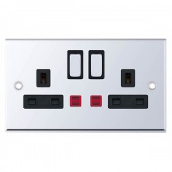 Selectric 7M-Pro Polished Chrome 2 Gang 13A DP Switched Socket with Neon and Black Insert