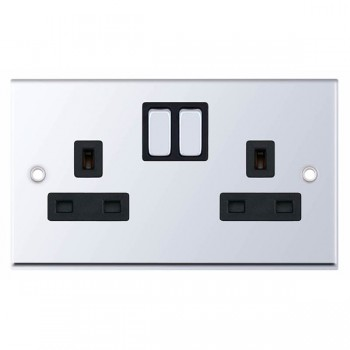 Selectric 7M-Pro Polished Chrome 2 Gang 13A Switched Socket with Black Insert