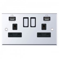 Selectric 7M-Pro Polished Chrome 2 Gang 13A Switched Socket with USB Outlet and Black Insert
