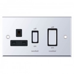 Selectric 7M-Pro Polished Chrome 45A DP Switch and 13A Switched Socket with Black Insert