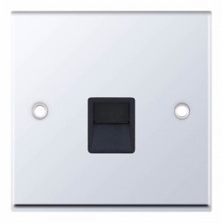 Selectric 7M-Pro Polished Chrome 1 Gang Telephone Secondary Socket with Black Insert