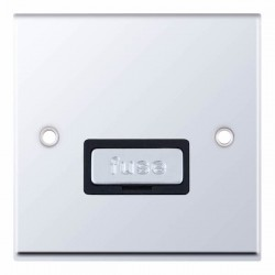 Selectric 7M-Pro Polished Chrome 13A Fused Connection Unit with Black Insert