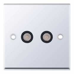 Selectric 7M-Pro Polished Chrome 2 Gang TV/FM Socket with Black Insert