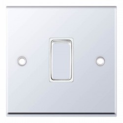 Selectric 7M-Pro Polished Chrome 1 Gang 10A 2 Way Switch with White Insert