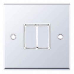 Selectric 7M-Pro Polished Chrome 2 Gang 10A 2 Way Switch with White Insert