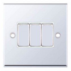 Selectric 7M-Pro Polished Chrome 3 Gang 10A 2 Way Switch with White Insert
