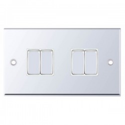 Selectric 7M-Pro Polished Chrome 4 Gang 10A 2 Way Switch with White Insert