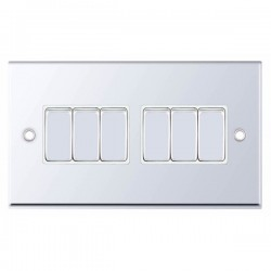 Selectric 7M-Pro Polished Chrome 6 Gang 10A 2 Way Switch with White Insert