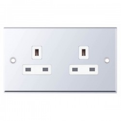 Selectric 7M-Pro Polished Chrome 2 Gang 13A Unswitched Socket with White Insert