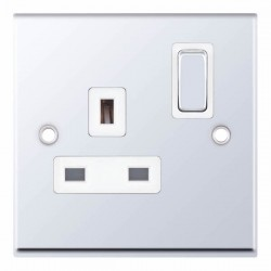 Selectric 7M-Pro Polished Chrome 1 Gang 13A DP Switched Socket with White Insert