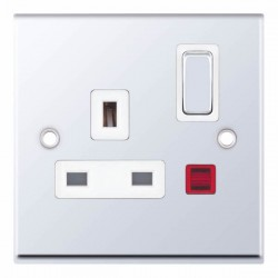 Selectric 7M-Pro Polished Chrome 1 Gang 13A DP Switched Socket with Neon and White Insert