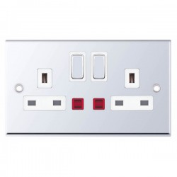 Selectric 7M-Pro Polished Chrome 2 Gang 13A DP Switched Socket with Neon and White Insert