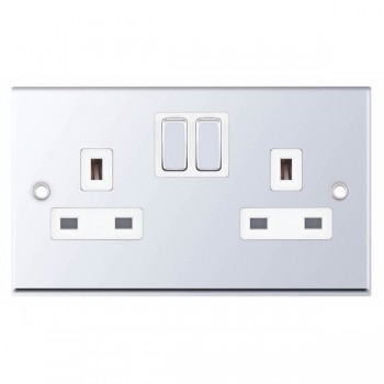 Selectric 7M-Pro Polished Chrome 2 Gang 13A Switched Socket with White Insert