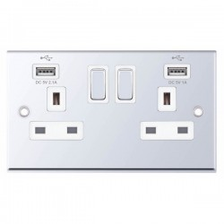 Selectric 7M-Pro Polished Chrome 2 Gang 13A Switched Socket with USB Outlet and White Insert