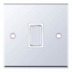 Selectric 7M-Pro Polished Chrome 1 Gang 20A DP Switch with White Insert