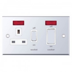 Selectric 7M-Pro Polished Chrome 45A DP Switch and 13A Switched Socket with Neon and White Insert