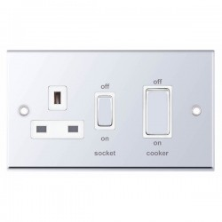 Selectric 7M-Pro Polished Chrome 45A DP Switch and 13A Switched Socket with White Insert