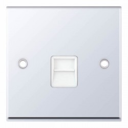 Selectric 7M-Pro Polished Chrome 1 Gang Telephone Secondary Socket with White Insert