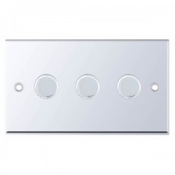Selectric 7M-Pro Polished Chrome 3 Gang 400W 2 Way Dimmer Switch