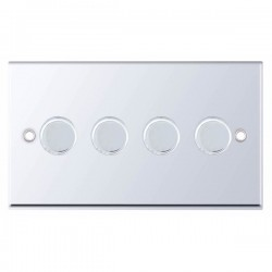 Selectric 7M-Pro Polished Chrome 4 Gang 400W 2 Way Dimmer Switch
