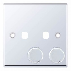 Selectric 7M-Pro Polished Chrome 1 Gang Twin Aperture Dimmer Plate with Matching Knobs
