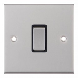 Selectric 7M-Pro Satin Chrome 1 Gang 10A 2 Way Switch with Black Insert
