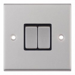 Selectric 7M-Pro Satin Chrome 2 Gang 10A 2 Way Switch with Black Insert