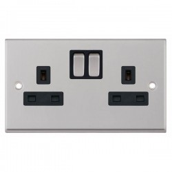 Selectric 7M-Pro Satin Chrome 2 Gang 13A Switched Socket with Black Insert