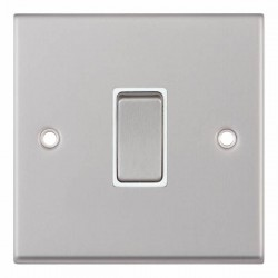 Selectric 7M-Pro Satin Chrome 1 Gang 10A 2 Way Switch with White Insert