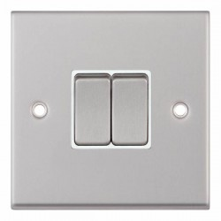 Selectric 7M-Pro Satin Chrome 2 Gang 10A 2 Way Switch with White Insert