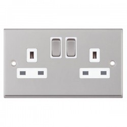 Selectric 7M-Pro Satin Chrome 2 Gang 13A DP Switched Socket with White Insert