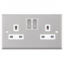 Selectric 7M-Pro Satin Chrome 2 Gang 13A Switched Socket with White Insert