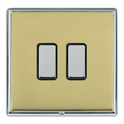 Hamilton Linea-Rondo CFX Bright Chrome/Polished Brass 2 Gang Multi way Touch Master Trailing Edge with Bl...