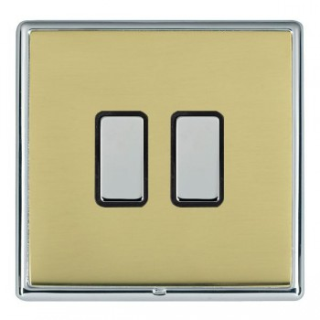 Hamilton Linea-Rondo CFX Bright Chrome/Polished Brass 2 Gang Multi way Touch Master Trailing Edge with Black Insert