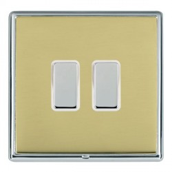 Hamilton Linea-Rondo CFX Bright Chrome/Polished Brass 2 Gang Multi way Touch Master Trailing Edge with Wh...