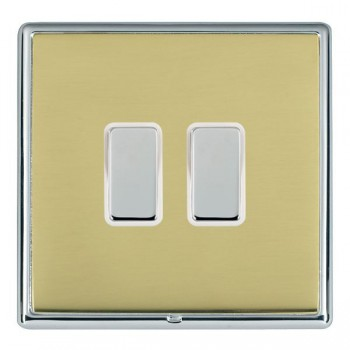 Hamilton Linea-Rondo CFX Bright Chrome/Polished Brass 2 Gang Multi way Touch Master Trailing Edge with White Insert