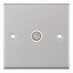 Selectric 7M-Pro Satin Chrome 1 Gang TV Socket with White Insert